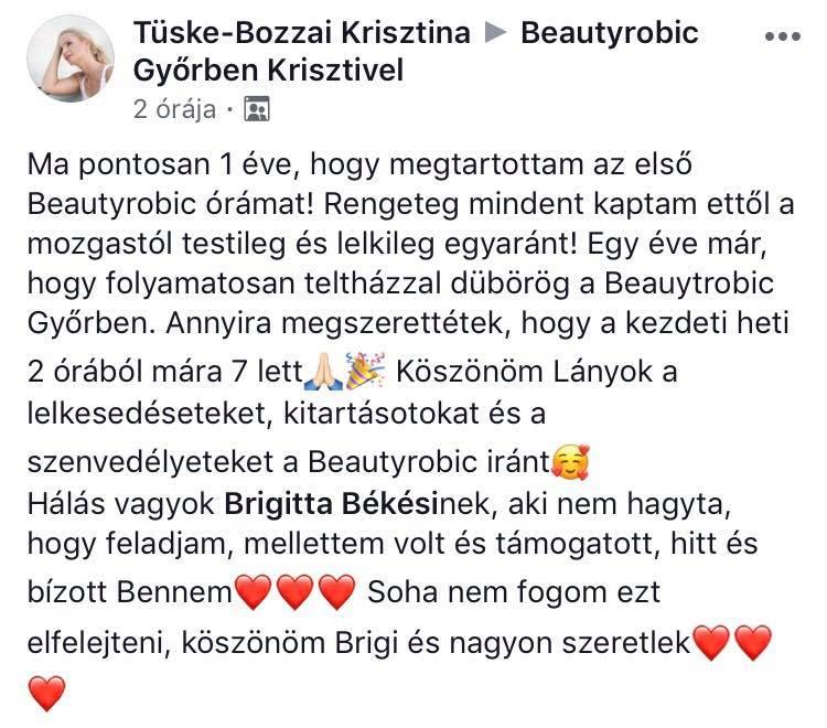Tüske-Bozzai Krisztina elismerő szavai, aki már azóta Beautyrobic oktató is lett