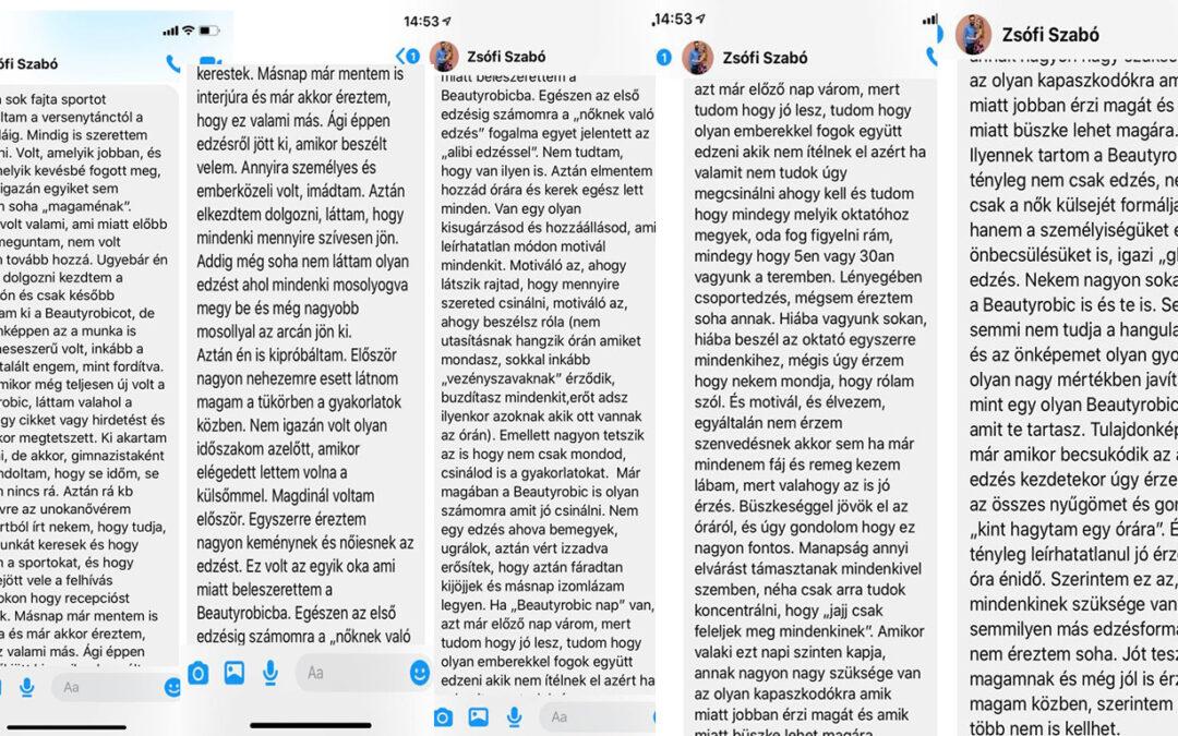 Szabó Zsófi kedves szavai a Beautyrobicról