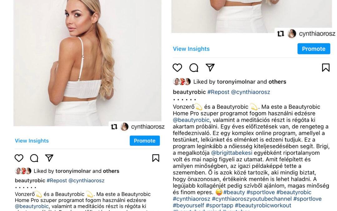 Beautyrobic HomePro-t választotta Orosz Cynthia is